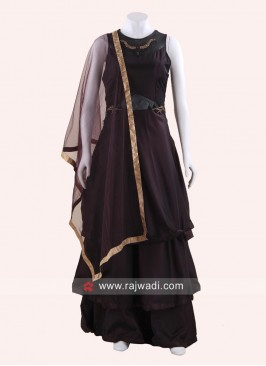 Taffeta Silk Multi Layered Gown with Dupatta