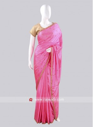 Taffeta Silk Pink Saree with Ready Blouse