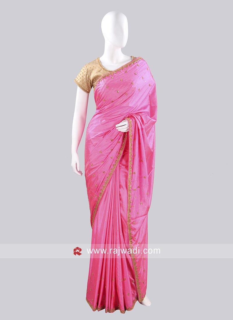 Taffeta Silk Pink Saree with Ready Blouse