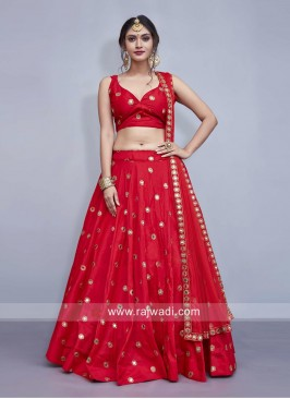 Taffeta Silk Red Wedding Lehenga Choli