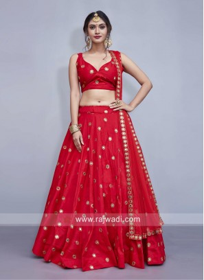 Taffeta Silk Red Wedding Lehenga Choli