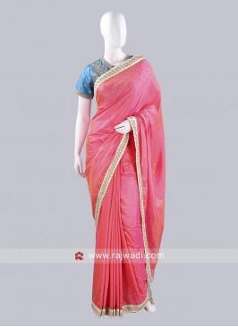 Taffeta Silk Saree in Hot Pink