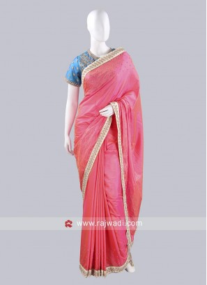 Taffeta Silk Saree in Hot Pink