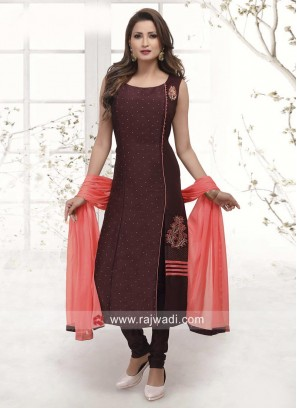 Crepe Silk Side Slit Churidar Salwar Kameez