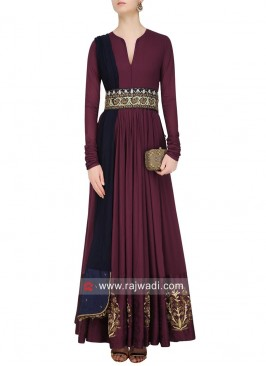 Taffeta Silk Stitched Gown with Belt and Dupatta