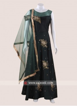 Taffeta Silk Wedding Long Gown with Dupatta