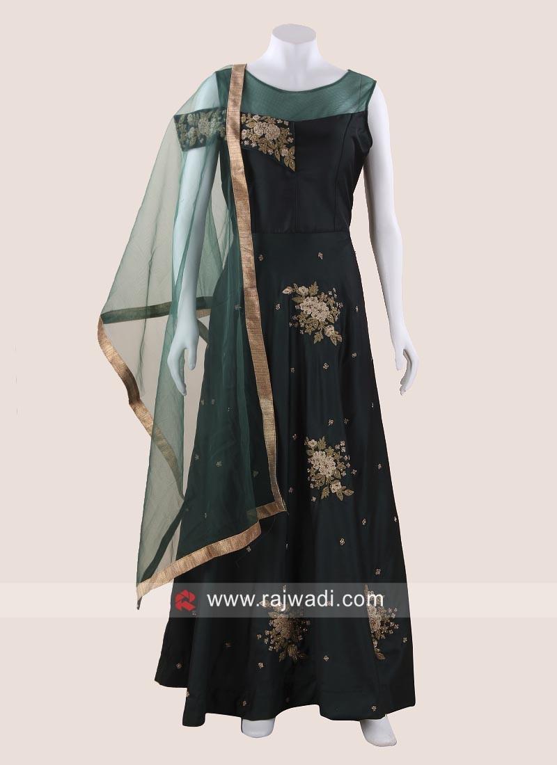 Taffeta Silk Wedding Long Gown with Dupatta