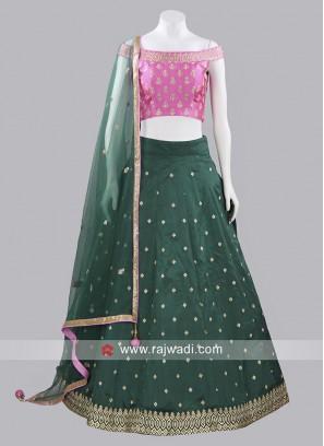 Taffeta Silk Zari Work Lehenga Choli