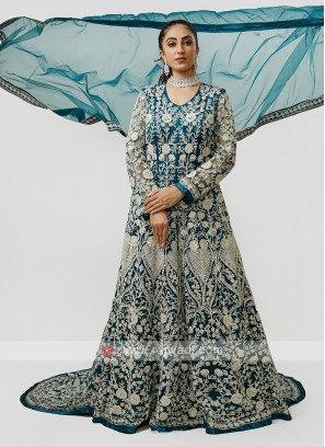Tail Style Gown In Peacock Blue