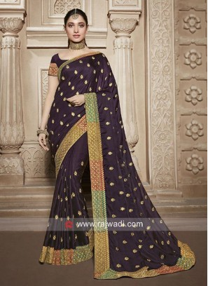 Tamannaah Bhatia Art Silk Saree in Dark Purple