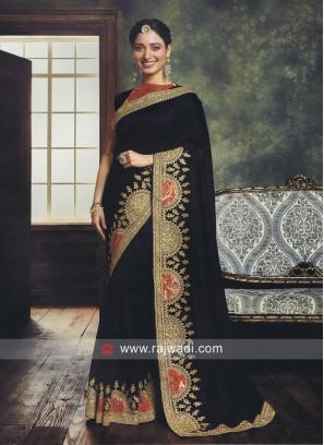 Tamannaah Bhatia Art Silk Saree in Navy Blue