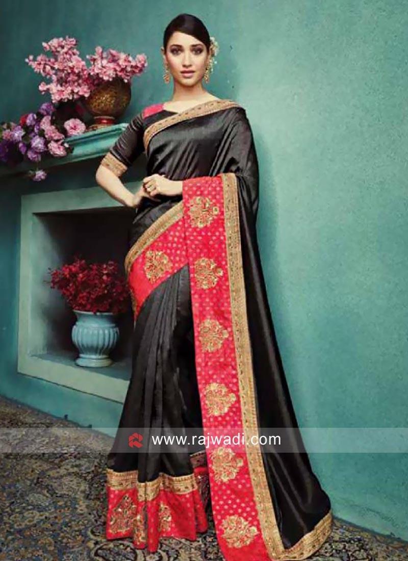 Tamannaah Bhatia Black Sari with Peach Border