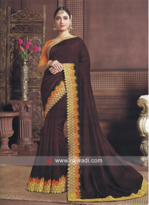 Tamannaah Bhatia Brown Border Work Sari