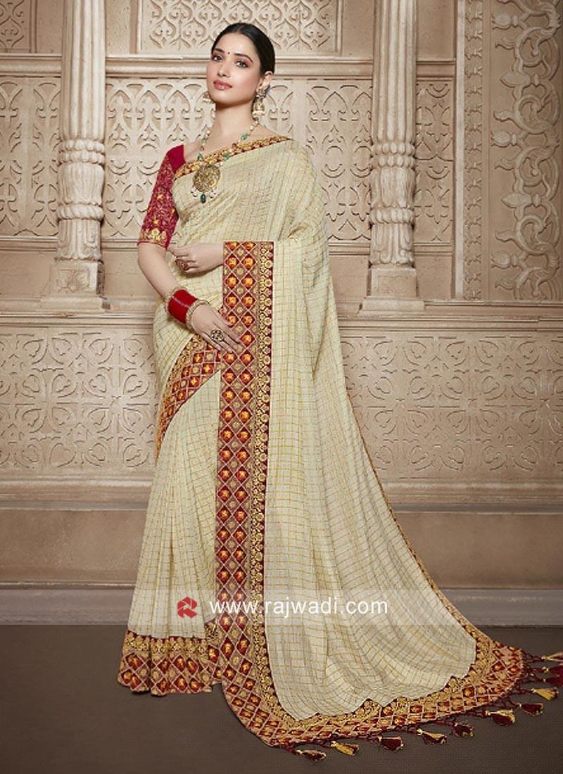 Tamannaah Bhatia Checks Saree in Cream