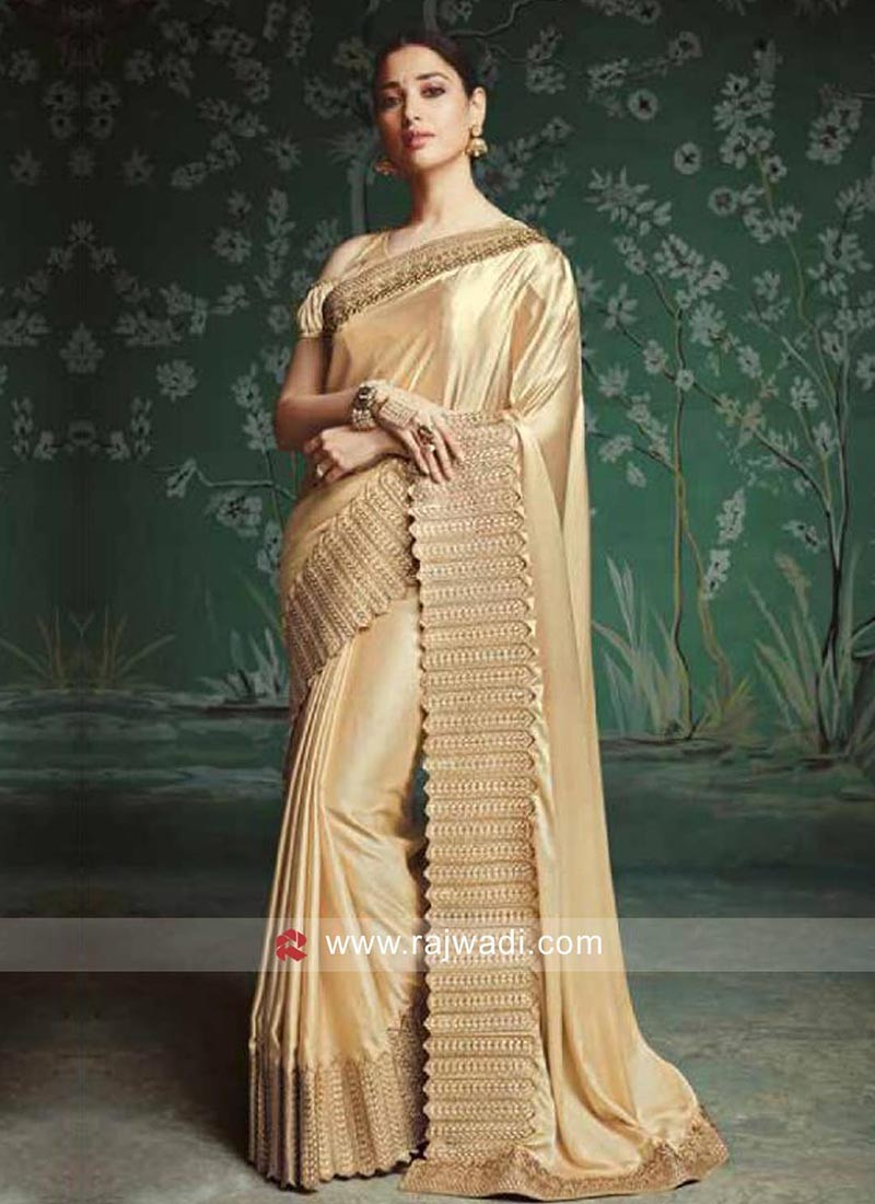 Tamannaah Bhatia Golden Cream Sari with Border