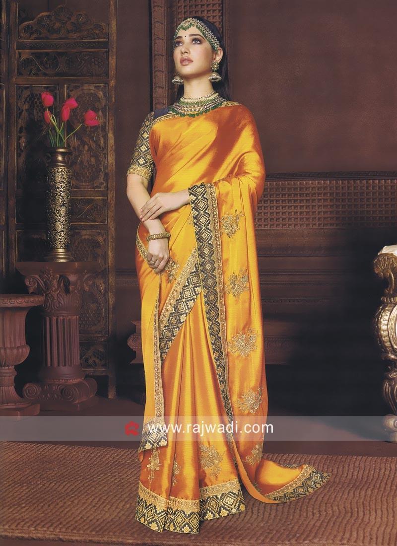 Tamannaah Bhatia Golden Yellow Saree