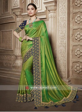 Tamannaah Bhatia Green Saree with Dark Blue Blouse