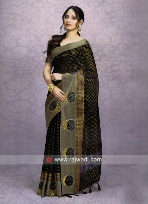 Tamannaah Bhatia in Black Cotton Silk Saree