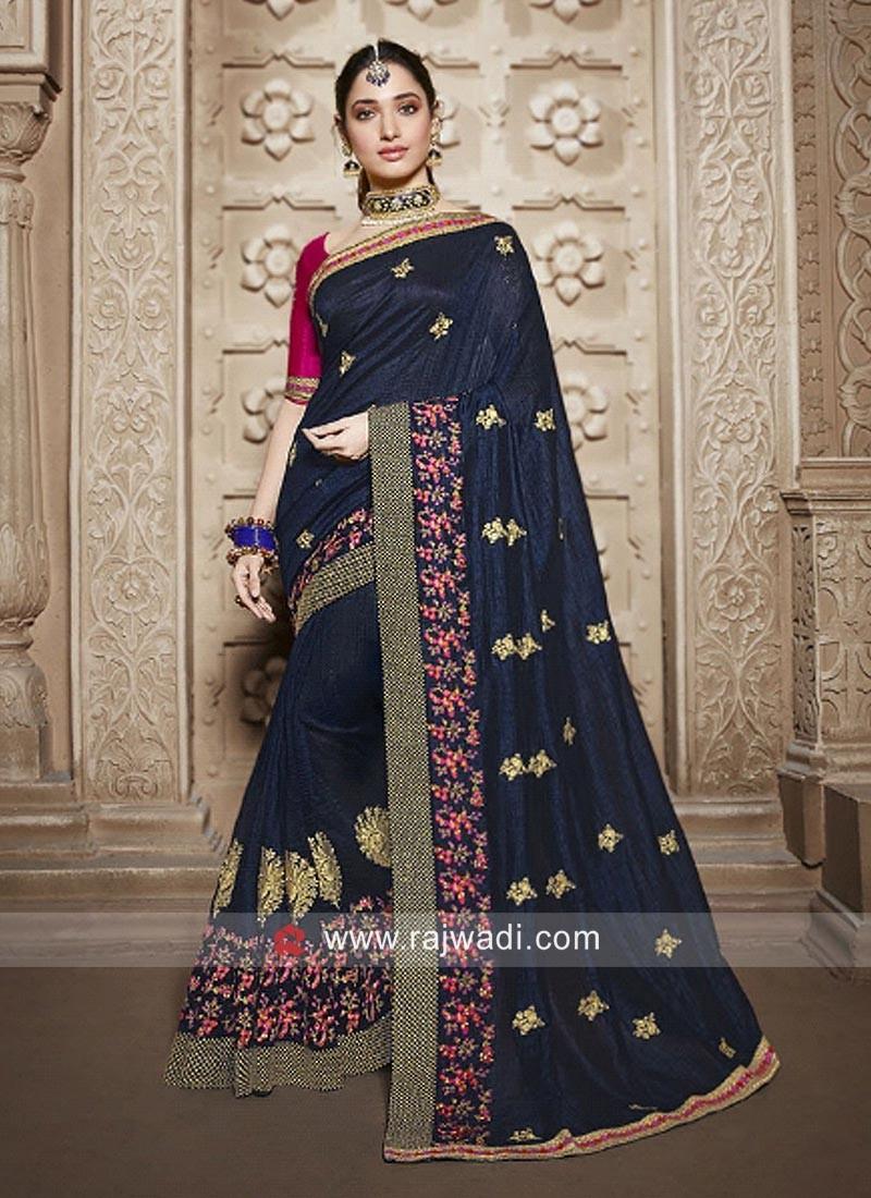 Tamannaah Bhatia in Dark Blue Saree