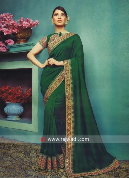 Tamannaah Bhatia in Dark Green Saree