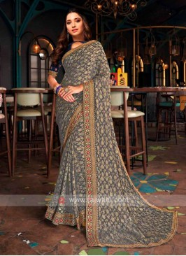 Tamannaah Bhatia In Dark Grey Banarasi Jacquard Silk Saree.,