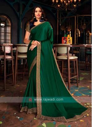 Tamannaah Bhatia In Green Chiffon Silk Saree