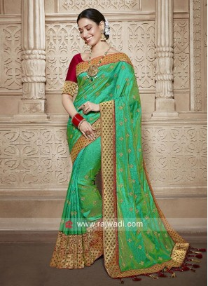 Tamannaah Bhatia in Green Embroidered Saree