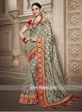 Tamannaah Bhatia in Grey Banarasi Silk Saree