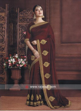 Tamannaah Bhatia in Maroon Patch Work Sari