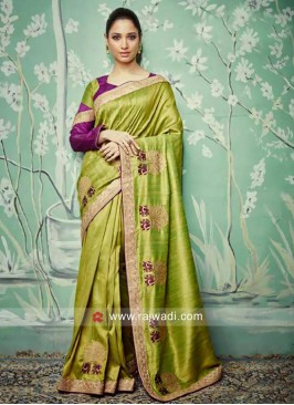 Tamannaah Bhatia in Parrot Green Saree