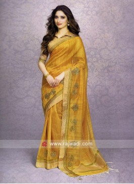 Tamannaah Bhatia in Yelllow Cotton Silk Saree