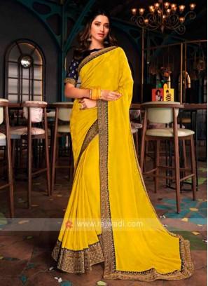 Tamannaah Bhatia In Yellow Jacquard Silk Saree.