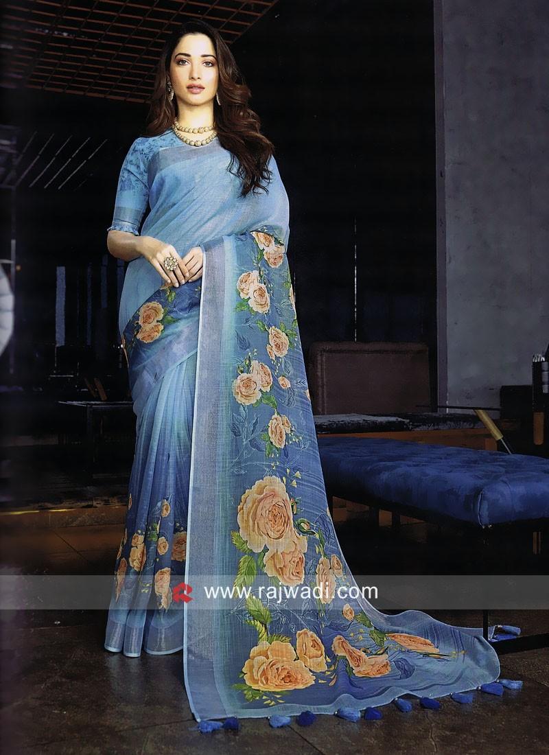 Tamannaah Bhatia Linen Cotton Printed Saree