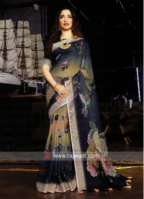 Tamannaah Bhatia Linen Cotton Printed Saree
