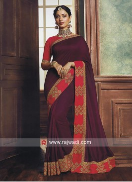 Tamannaah Bhatia Magenta Saree with Contrast Border