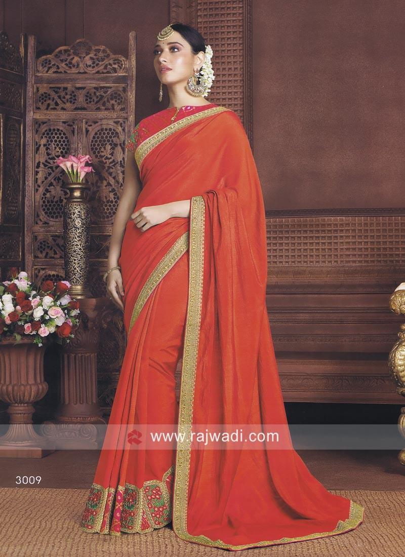 bc9d21b792d04 Tamannaah Bhatia Orange Saree. Hover to zoom