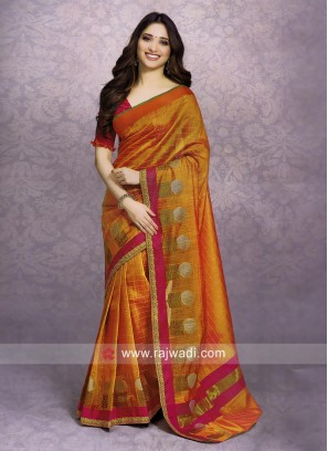 Tamannaah Bhatia Orange Saree with Blouse