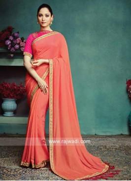 Tamannaah Bhatia Peach Art Silk Saree