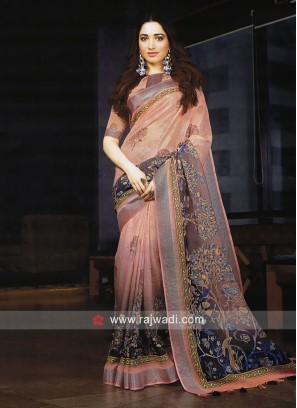 Tamannaah Bhatia Printed Linen Cotton Saree