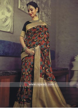 Tamannaah Bhatia Printed Sari with Brocade Border