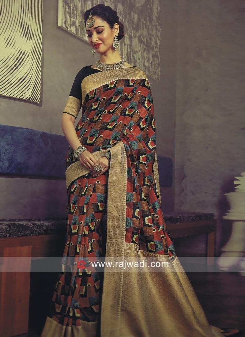 1e748d0811883f Tamannaah Bhatia Printed Sari with Brocade Border