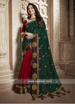 Tamannaah Bhatia Red and Green Half N Half Saree