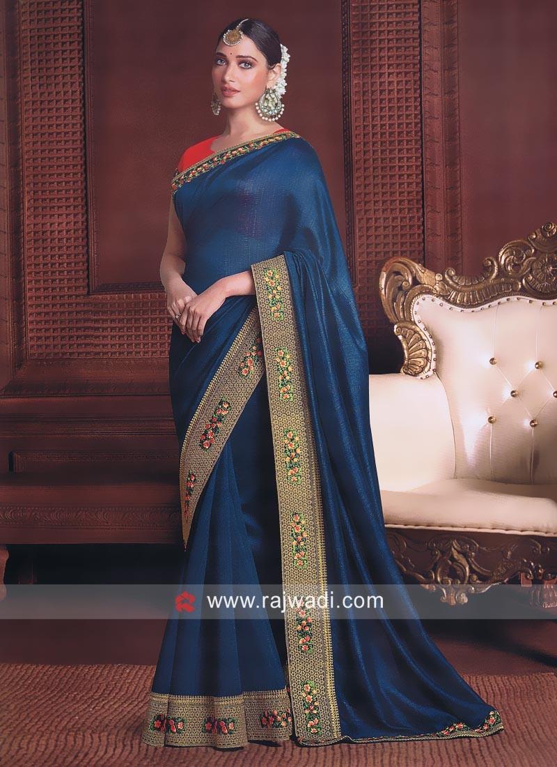 75791beb45b54 Tamannaah Bhatia Saree in Blue. Hover to zoom