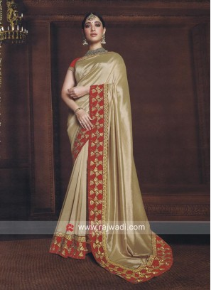 Tamannaah Bhatia Saree in Golden Cream