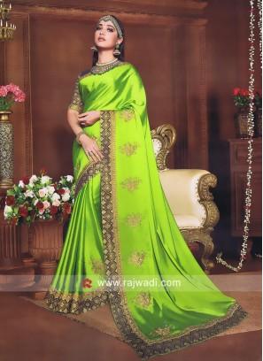 Tamannaah Bhatia Saree in Parrot Green