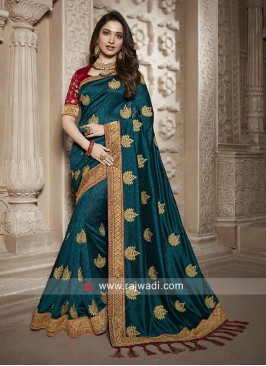Tamannaah Bhatia Saree in Peacock Blue