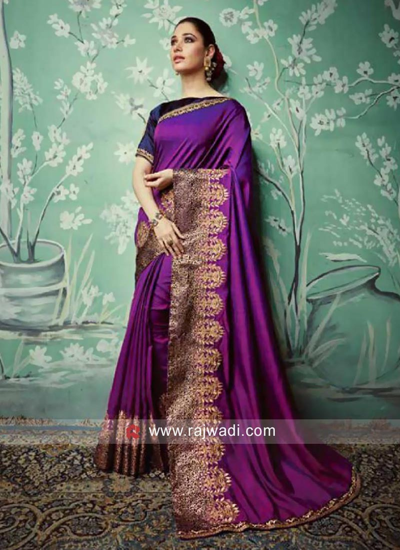 Tamannaah Bhatia Sari with Zari Border
