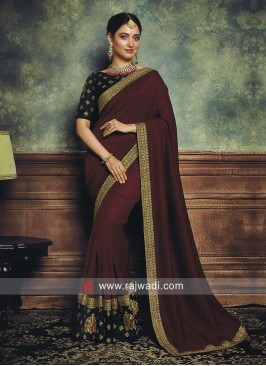 Tamannaah Bhatia Zari Work Party Saree
