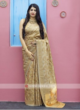 Tanchoi Saree In Beige Color