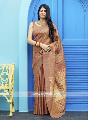 Tanchoi Saree In Rust Color